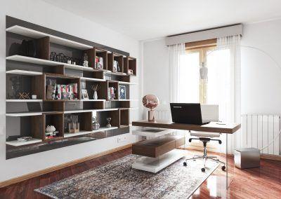 Despacho En nogal Americano y blanco en Karanné decoración